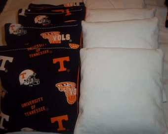 8 ACA Regulation Cornhole Bags - 4 handmade from Tennessee Volunteers with 4 Solid White Bags