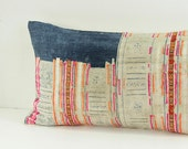 "Boho Bohemian Rare VINTAGE HMONG Textile Batik Embroidered Ethnic Textile Striped Pink & Blue White Nautical Pillow Case 12"" x 20"""