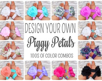 Baby Barefoot Sandals, Design Your Own Piggy Petals, 100's of Color Combos, Baby Accessories, Newborn Shoes, Baby Shoes, Toe Blooms