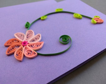 Quilling Card, Flower Card, Paper Gift Cards, Quilling Gift Card, Paper Quilled Card
