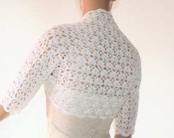 Wedding Bridal Bolero Shrug Lace Crochet Shrug Boleros White Cotton