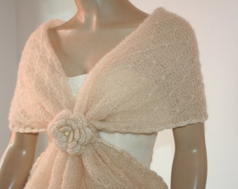 Wedding Bridal Shawl Scarf Bolero Shrug Lace Crochet Shrug Boleros ivory  mohair Silk