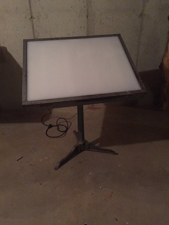 Antique Saxon Drafting Table W/ Light Box Top Industrial ...