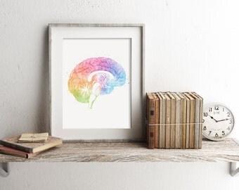 Brain Anatomy Print - Watercolor Brain Print - Brain Art - Brain Watercolor Art - Medical Office Decor - Medical Student Gift