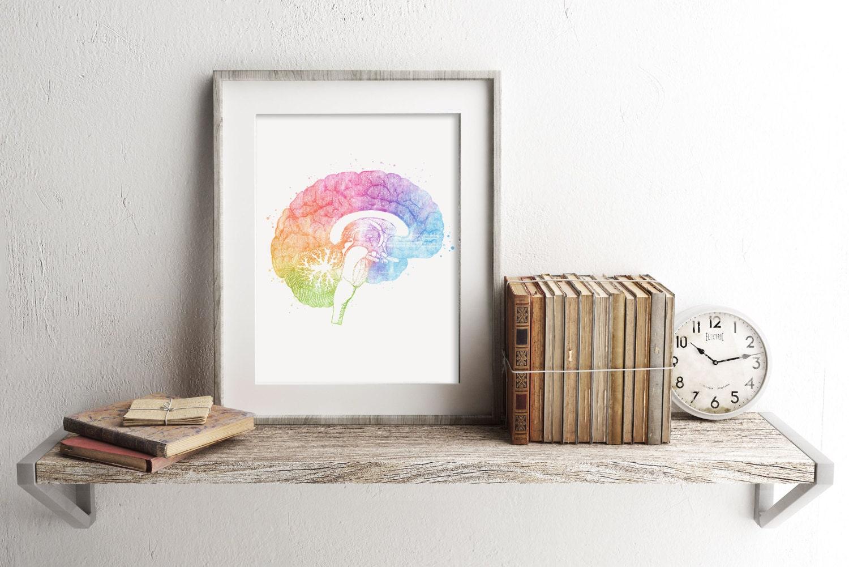 brain anatomy print watercolor brain print brain art brain watercolor art medical office decor medical student gift anatomy office