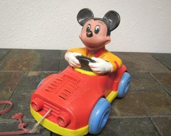 vintage  MICKEY MOUSE in CAR Pull Toy *  1973 Kohner Bros. Toy * Walt Disney,