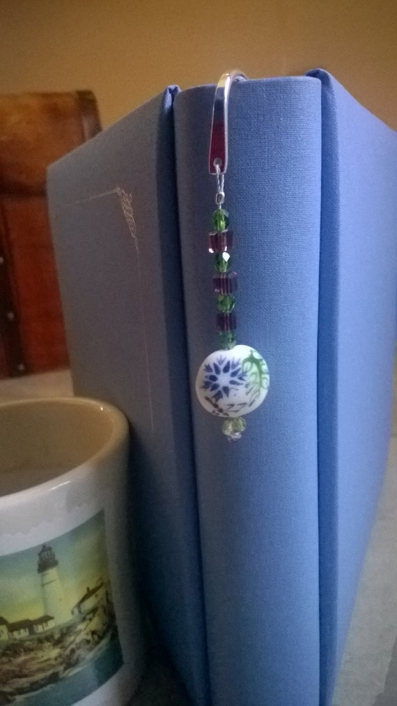 Beaded Gift Idea, Metal Bookmark, Green and Purple Beaded Bookmarker, Unique Metal Bookmark for that Book Lover
