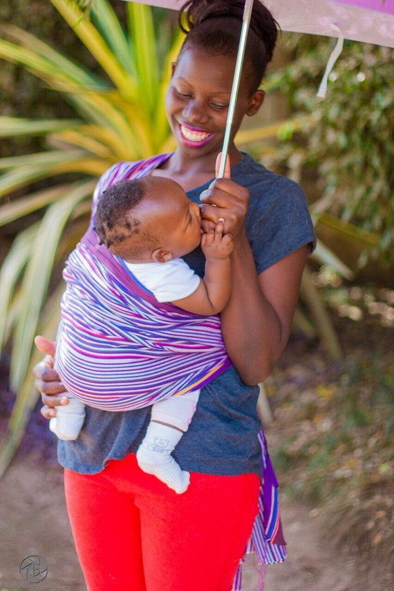 Multicolured purple custom striped Woven Baby Wrap/baby sling