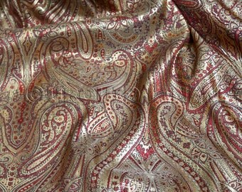 Paisley Jacquard in Red/Gold - Gorgeous Fabric w/ a Paisley Design Throughout - Ideal for Decorations, Crafts, Drapes, and Linens