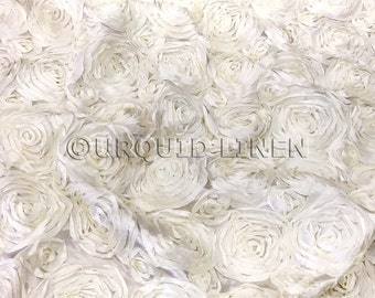 Rose Satin in Ivory - Decorative Fabric With A Rose Embroidery Throughout - Best for Weddings, Bridal Parties, and Events