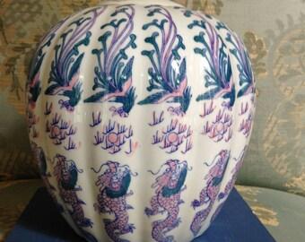 Large Pumpkin-Like Fluted Dragon Ginger Jar