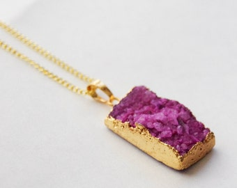 50% Off mother's day gift, Druzy Bar Necklace, Rectangle Druzy Necklace, Fuschia Druzy Pendant, Purple Druzy Necklace, Squared Geode Layer