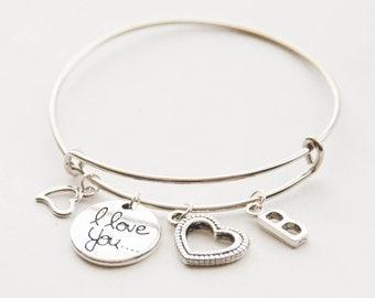 Charm Bracelet, Personalized Bracelet, Silver Love Charm Bracelet, Silver Bridesmaid Bracelet, Love Jewelry, Silver Love Bangle Bracelet