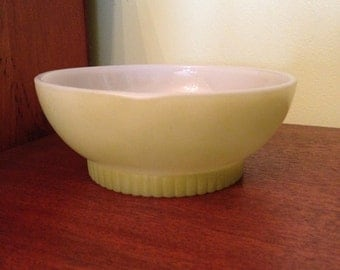 Vintage Fire King Cereal Bowl Milk Glass Green/Avocado Green