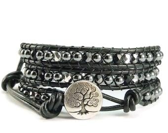Leather Wrap Bracelet, Beaded Wrap Bracelet, Hematite Gemstones, Tree of Life, Black Beaded Bracelet