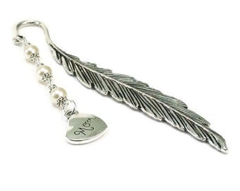 Feather Bookmark Mom Charm Beaded Pearl Metal Book Mark