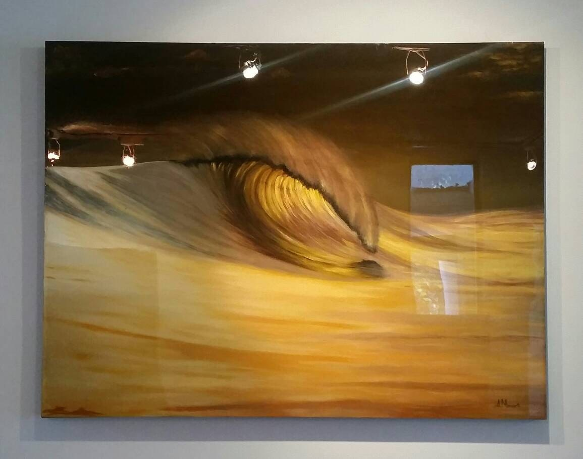 Gold wave surf art large acrylic painting on wood panel with for Mural art on wood