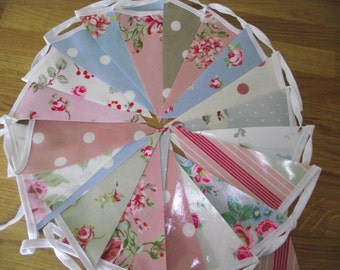 Handmade Shabby Chic Oilcloth Bunting with Clarke and Clarke  Cath Kidston, Banner Party Floral Spot PVC Country