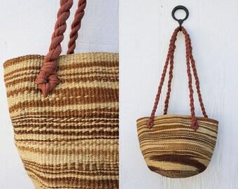 VINTAGE 1970s Woven Straw Basket Purse | Sisal Market Tote | Straw Beach Bag | Ethnic Jute Bag | Boho Hippie Festival Purse