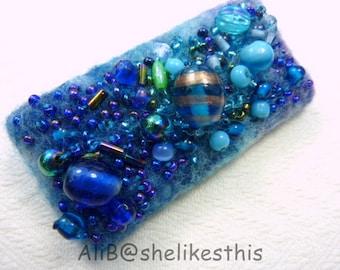 Blue Beaded Brooch Pin Blue brooch Blue Beaded art jewellery Bar Brooch
