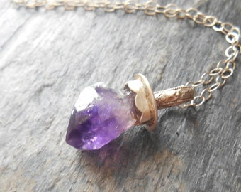 Raw ametyst point sterling silver  necklace, raw crystal necklace, February birthstone necklace