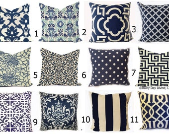 Outdoor Pillows or Indoor Custom Covers - Shades of Navy Blue Ivory Ikat, Modern Patio Throw Accent