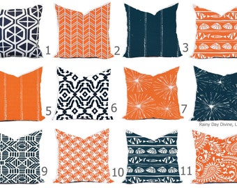 Pillow Pillows Outdoor or Indoor Custom Cover - Navy Blue Tangerine Orange White Modern Geo Nautical Coastal - 16x16, 18x18
