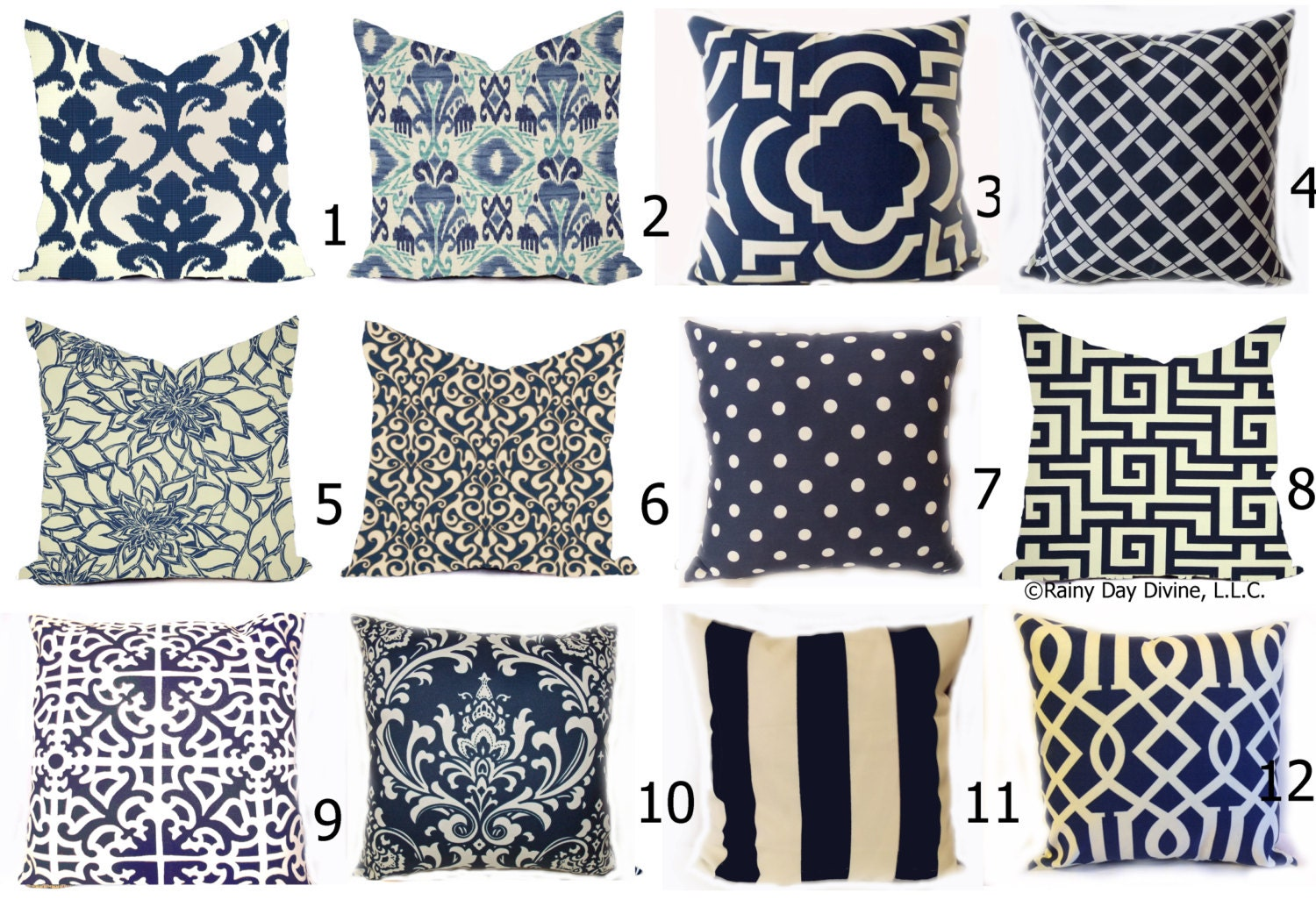 Wonderful Outdoor Pillows Or Indoor Custom Covers   Shades Of Navy Blue Ivory Ikat,  Modern Patio Throw Accent