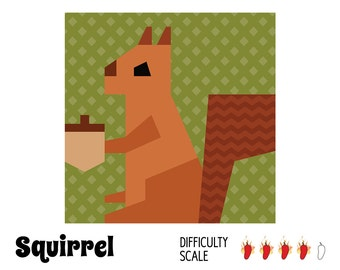 Squirrel paper pieced quilt pattern in PDF
