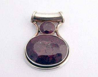 SaLe! sALe! Large Natural Ruby Pendant Sterling Silver