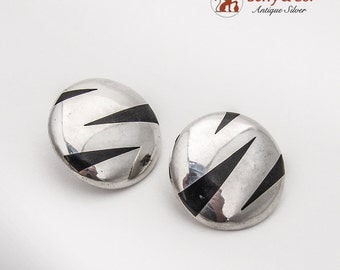 Large Round Post Earrings Black Inlay Insets Sterling Silver