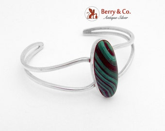 Modernist Malachite Cuff Bracelet Sterling Silver