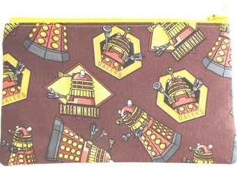 Doctor who Daleks Fabric Pencil Case // Exterminate Pencil Case // Doctor Who Zipper Pouch // Doctor Who party favor