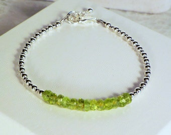 "Cynthia Lynn ""SHIMMER"" Sterling Silver August Birthstone Natural Green Peridot Minimalist Bracelet 7-8 inches"
