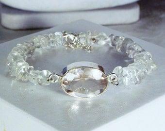 """Cynthia Lynn """"CRYSTALLINE"""" Sterling Silver Clear Quartz Crystal April Birthstone Beaded Bracelet 7-8 inches"""
