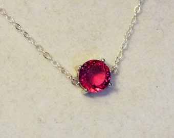 """Cynthia Lynn """"OCTOBER ROSE"""" Sterling Silver Pink Tourmaline October Birthstone Necklace"""
