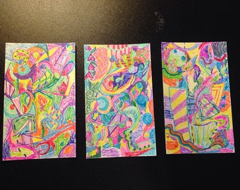 Psychedelic 60's style index card psychedelica
