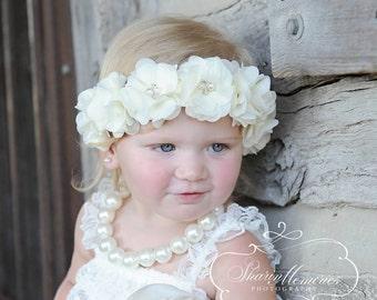Ivory Flower Crown Headband/Flower Crown Headband/Flower Headband Wedding/Baby Girl Headband/Girl Headband Baby/Toddler Headband/Baby Romper