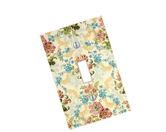 Light Switch Plate damask flowers vintage art living room bedroom kitchen dining family room modern floral art hipster Home Decor USA made