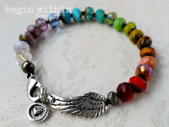 Rainbow Angel Wing Bracelet / Color Therapy Angel Bracelet / Chakra Jewelry