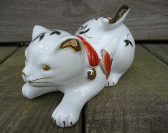 White Cat Figurine with Butterflies