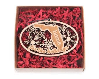 Engraved Florida Wood Christmas Ornament