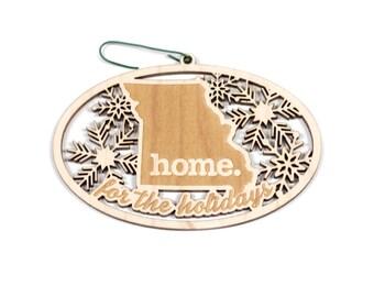Engraved Missouri Wood Christmas Ornament