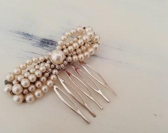 Vintage Pearl Bow Bridal Comb