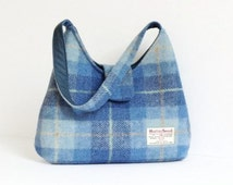 Harris Tweed Bag / Eco Friendly Handbag / Blue Check Handmade Purse / Gift Ideas For Women