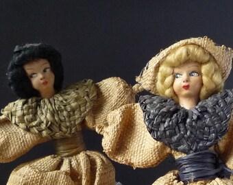 2 Vintage Hessian Dolls with Papier Mâché Type Painted Faces, Dutch Costume Half Dolls, Lavender Bag Doll, 1930s Antique Composition Dolls