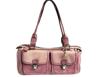Preppy Pink Leather Bag Fossil Handbag Lilac Baguette Saddle Bag Style Purse Lavender Purple Shoulder Bag