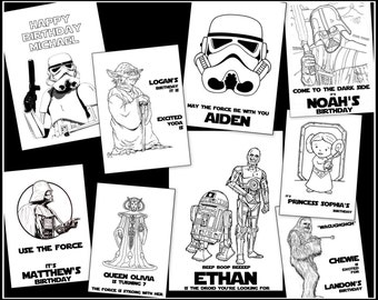 STAR WARS Personalized Coloring Book- Great For Parties & Birthdays At Any Age! Favors Or Gifts - Digital Download PDF Darth Vader R2D2 More