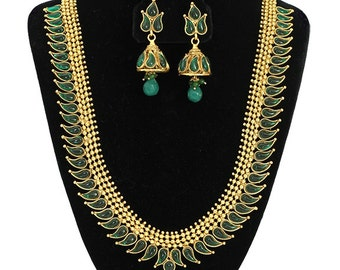 South Indian Jewellery HaaramLong Necklace with green stones with Jhumpa Earrings