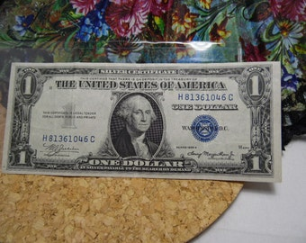 United States One Dollar Silver Certificate Blue Seal Note- 1935 A